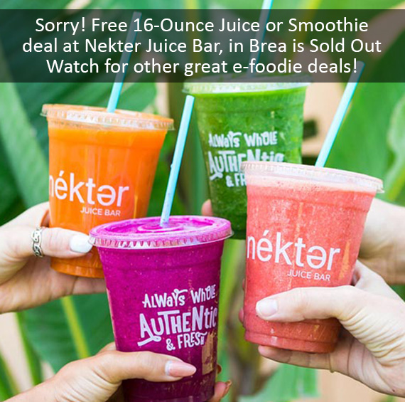 Free 16-Ounce Juice or Smoothie. Valid September 16th - September 22nd Only.