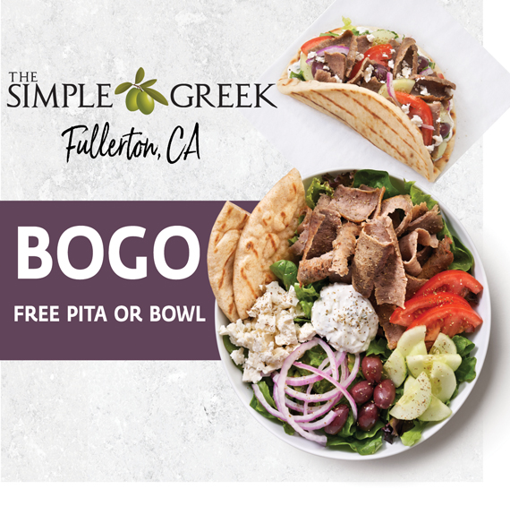 Buy One, Get One Free Pita or Bowl at The Simple Greek